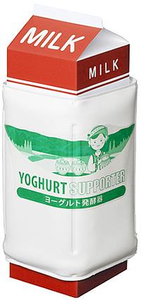 牛乳パックにヨーグルトメーカーを巻きつけて温めるタイプ